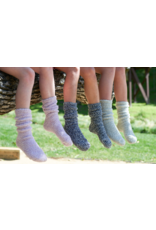 Barefoot Dreams Barefoot Dreams Cozychic Youth Heathered Socks Indigo/White