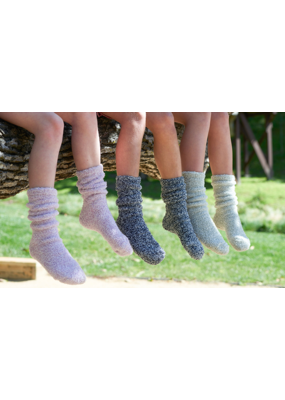 Barefoot Dreams Barefoot Dreams Cozychic Youth Heathered Socks Indigo/White