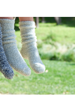 Barefoot Dreams Barefood Dreams Cozychic Youth Heathered Socks Ocean/White
