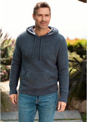 Barefoot Dreams Barefoot Dreams Cozychic Men's Pullover Hoodie in Slate Blue