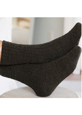 Barefoot Dreams Barefoot Dreams Men's Ribbed Socks- Olive/Carbon One Size