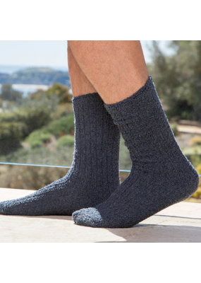 Barefoot Dreams Barefoot Dreams Cozychic Men's Ribbed Socks- Heathered Indigo/Pacific Blue One Size