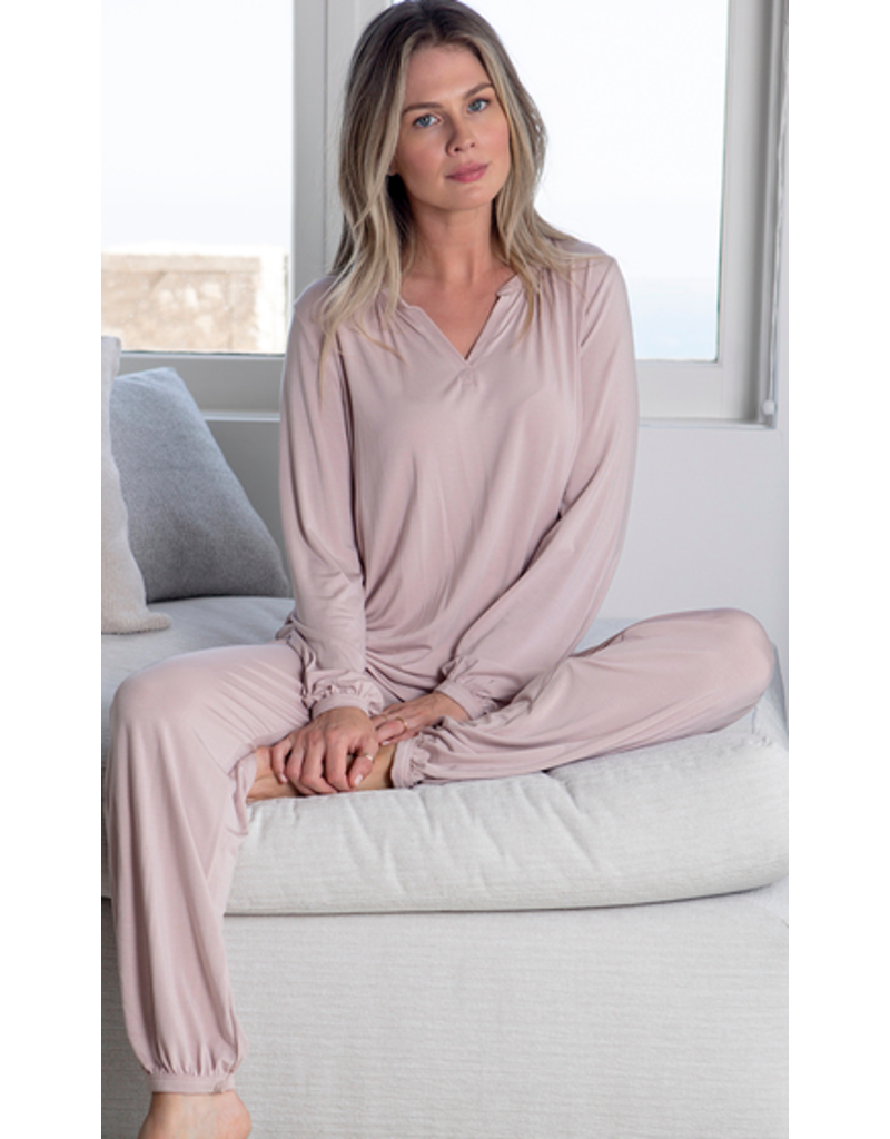Barefoot Dreams Barefoot Dreams Luxe Milk Jersey Namaste Lounge Set in Faded Rose
