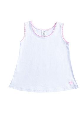 SET SET Tori Tank White w/Pink Ric Rac