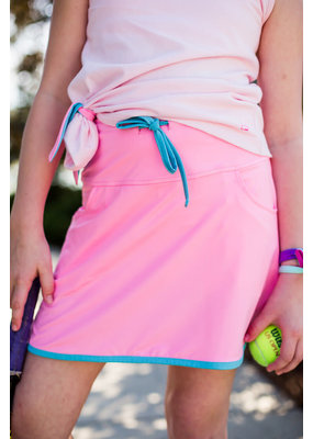 SET SET Tiffany Tennis Skort Hot Pink w/Teal Trim & Tie