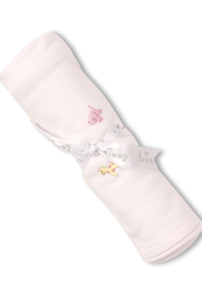 Kissy Kissy  Blanket w/Hand STR Emb SCE Jungle Fun Lt Pink
