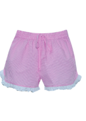 Lullaby Set LS Bailey Short Pink Mini Gingham w/wht eyelet trim