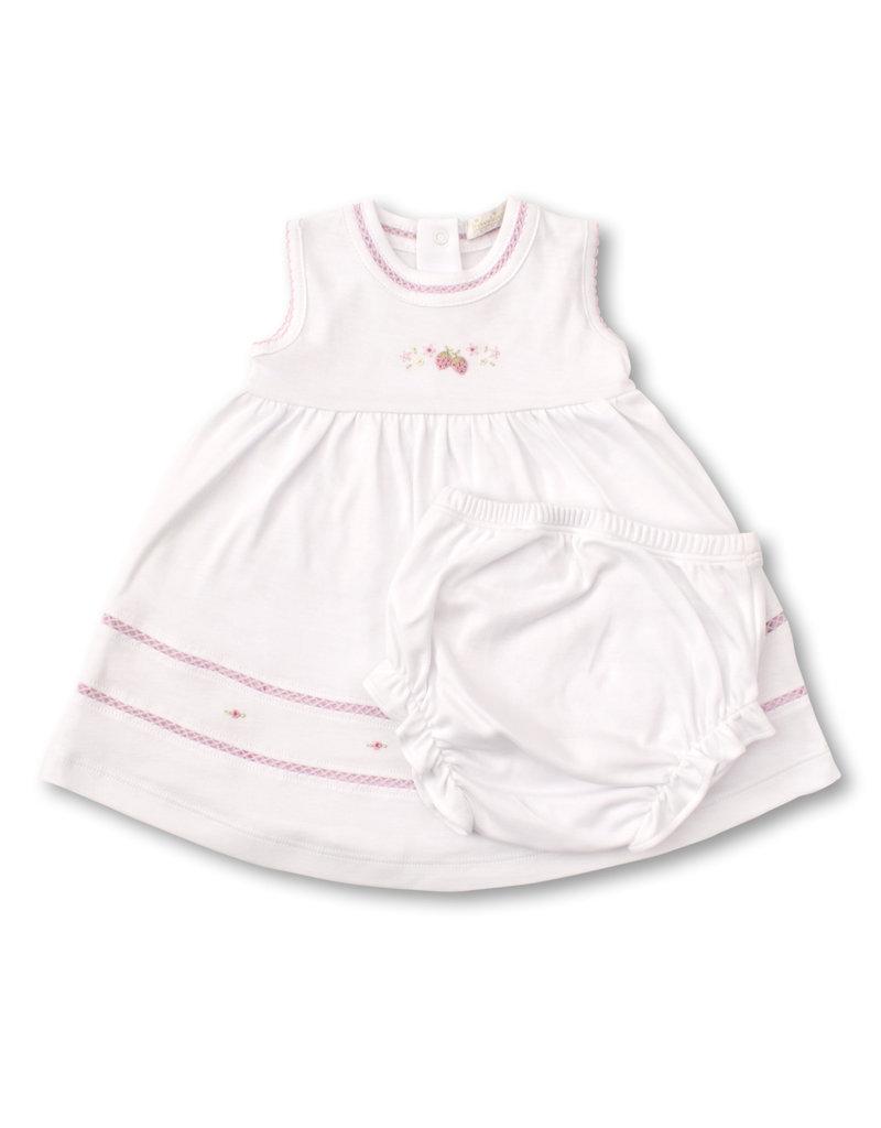 Kissy Kissy Kissy Kissy Dress w/Hand Emb Premier Strawberry Patch White/Pink