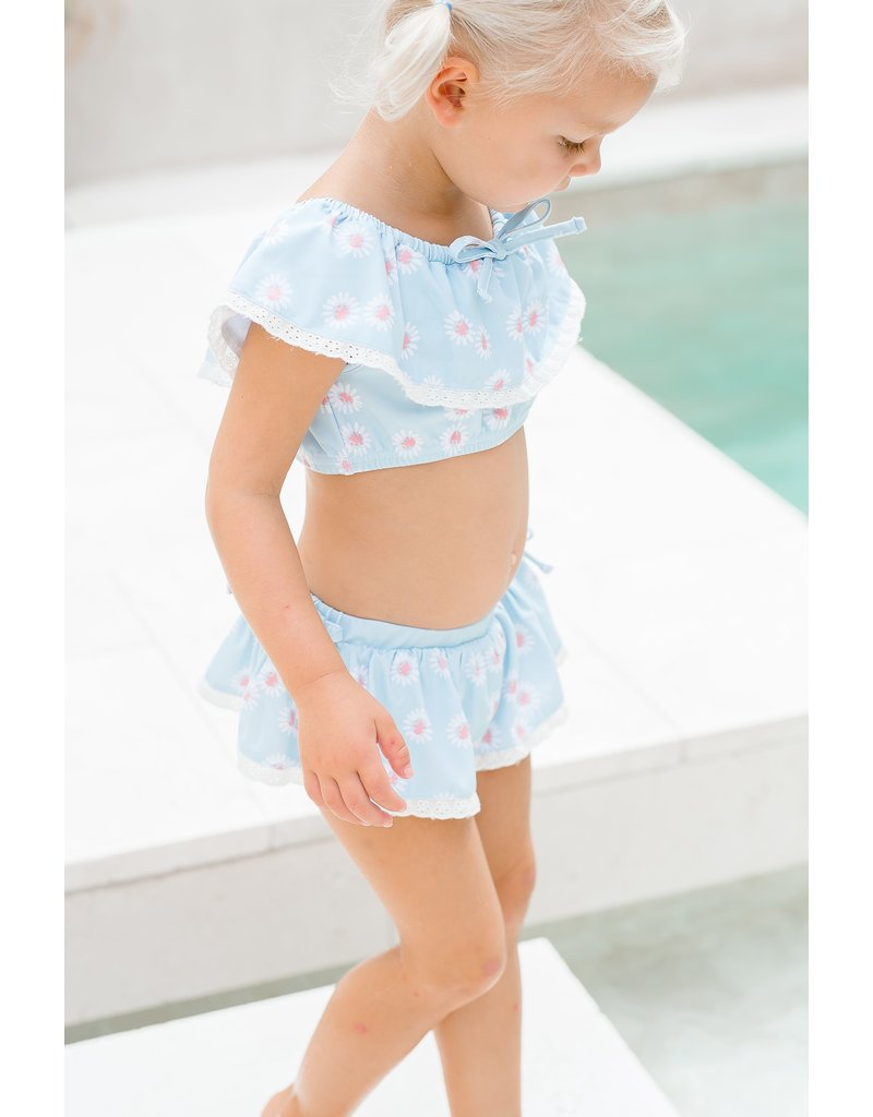 Charming Mary Charming Mary Eyelet Two Piece in Blue Daisies Lycra