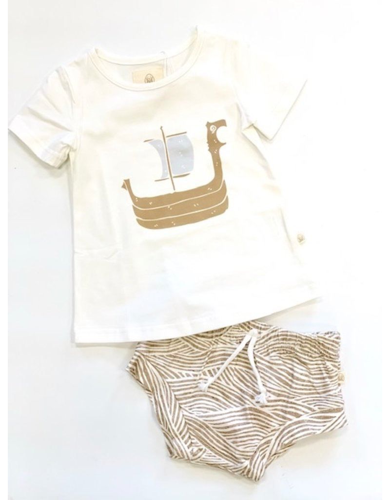 Charming Mary Charming Mary White Tee with  Ship & Shepard Waves Short Set