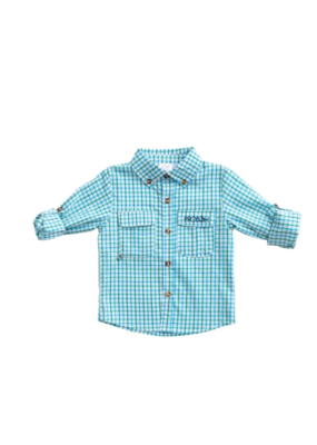 Prodoh Prodoh Vented Back Windowpane Shirt in Aquarius