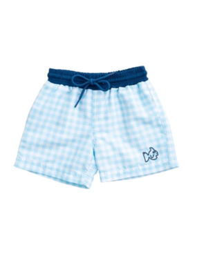 Prodoh Prodoh Gingham Swim Trunk in Castaway