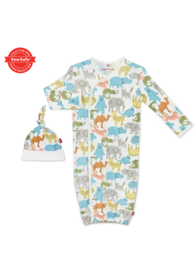 Magnetic Baby Magnetic Baby Zoo Crew Organic Cotton Magnetic Gown Set