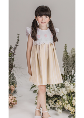 Dondolo Dondolo Tulip Dress - White/Light Yellow