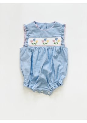 Petit Bebe Petit Bebe Tulips Sleeveless Bubble Light Blue Mini Gingham