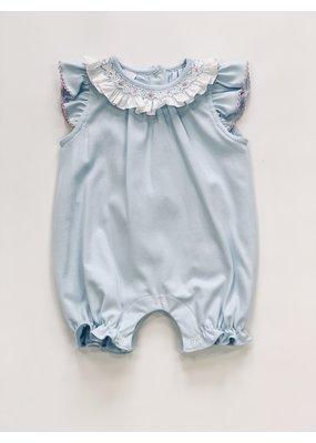 Petit Bebe Petit Bebe Bubble w/ Pink Smocked Collar & Ruffle Sleeves - light Blue knit