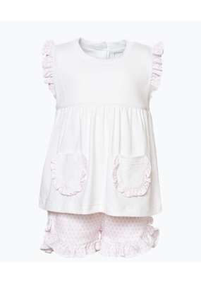 Lila and Hayes LH Gentry set Girl S/S Top & ruffle shorts Baby Pink Sputnik