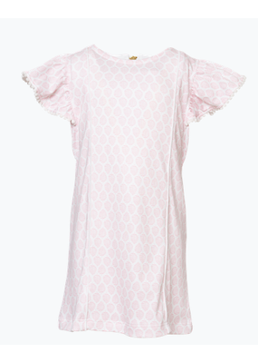 Lila and Hayes LH Marlowe Flutter sleeve Dress Pompom- Pretty Pink Palms