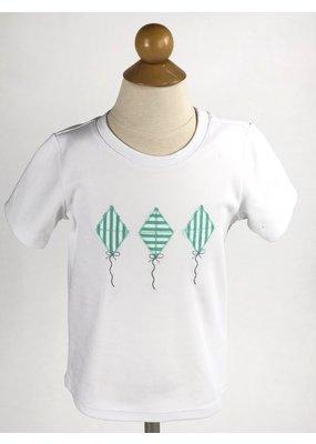 Peggy Green PG Embroidered Tee - White Pima w/Embroidered Kites & Aloe Retro Short