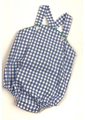 Peggy Green PG Cross Back Bubble Periwinkle Gingham w/Grass Green Piping