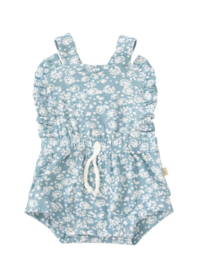Charming Mary Charming Mary Cottage Ruffle Romper in Blue & White Floral Knit