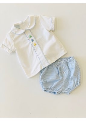 Petit Bebe PB Cottontails Emb Boy's Diaper Set - Lt Blue Stripe Knit