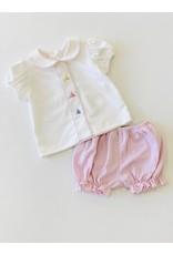 Petit Bebe PB Cottontails  Emb Bloomer Set - Lt Pink Str Knit