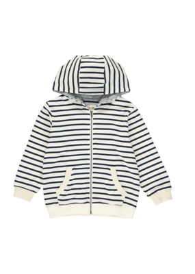 Me & Henry Me & Henry Cream/Navy Stripe Hooded Top
