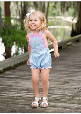Lullaby Set LS Brooke Bubble Blue Pique w/pink ging & Sailboat Emb