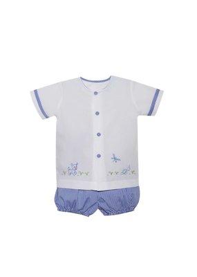Lullaby Set LS Louis Bloomer Set - Puppy Wht Shirt & Blue Ginghm Bloomer