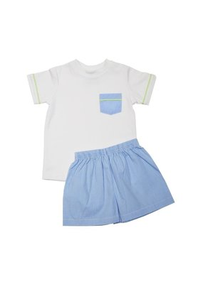 Lullaby Set Lullaby Set Mason White Shirt with blue mini gingham short set