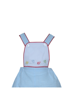 Lullaby Set LS Sebastian Sunsuit - Blue Ging Sersucker w/Red Piping Fish