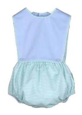 Sophie & Lucas SL Spring Stripe Boy Overall in Green