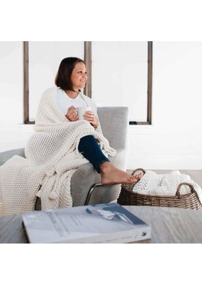 Zestt Organics Zestt Organics Comfy Knit Throw White