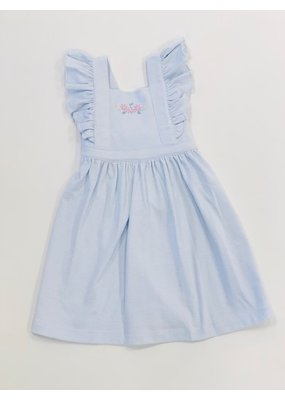 Squiggles Squiggles Lazy Daisy Pinafore Dress - Light Blue Stripe