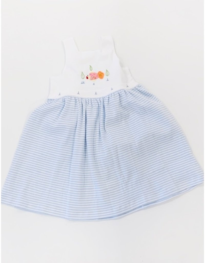 Squiggles Squiggles Zig Zag  Fish Sq Neck Sundress - Light Blue Stripe