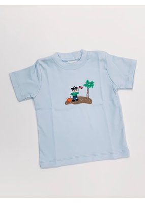 Squiggles Squiggles Pirate on Island T-Shirt - Light Blue