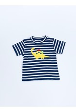 Squiggles Squiggles Dino & Cars T-Shirt - Navy/White Stripe