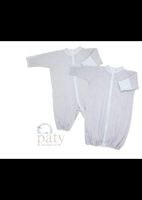 Paty Paty Converter Gown Grey Stripe w/Blue Trim