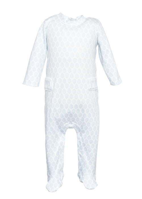 Lila and Hayes Lila and Hayes Preston Boy Footed romper Cool Blue Palms
