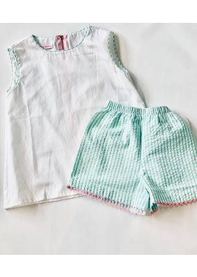 Peggy Green Peggy Green Kat Top & Short Set- White pique top with aloe ss bows & shorts