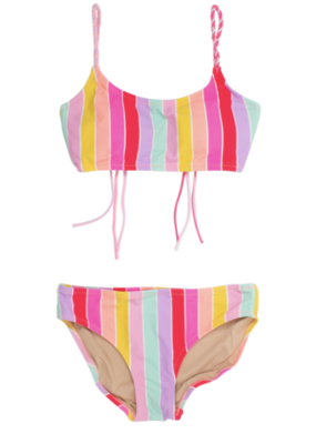 Shade Critters Shade Critters Two Piece Bikini Rainbow Stripe with Braided Straps