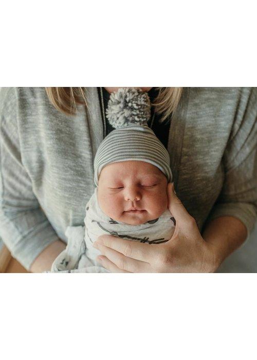 ilybean Ilybean Grey White Striped w/Mixed Pom Hat