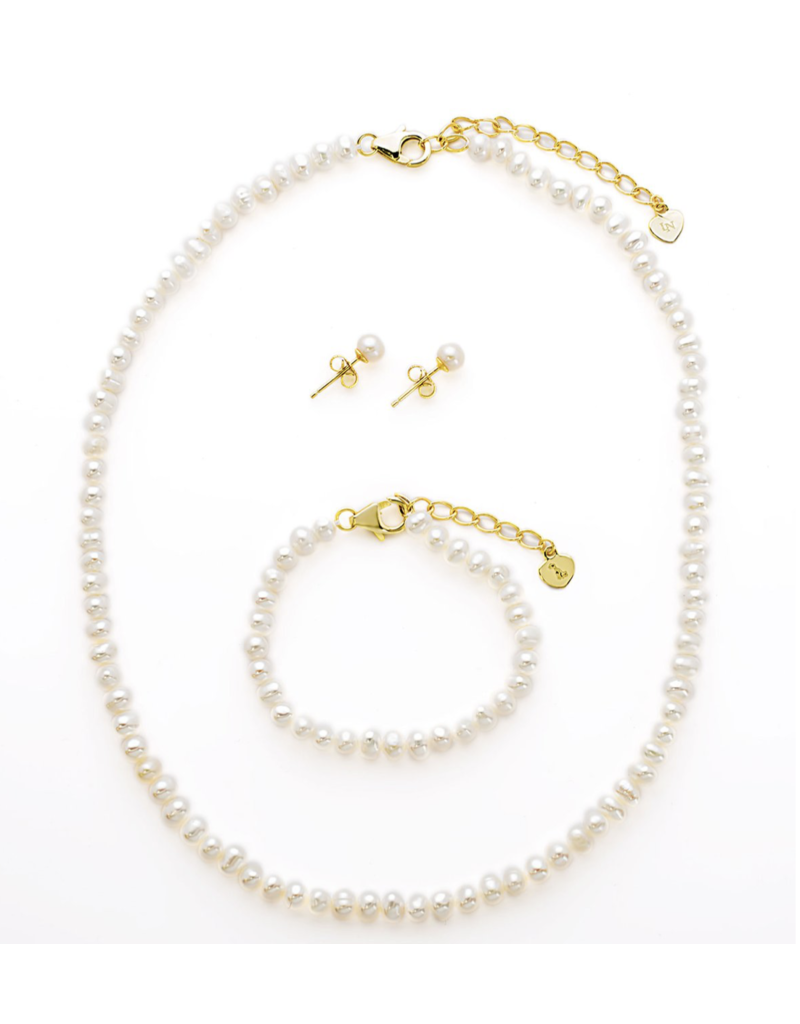 Lily Nily Lily Nily Freshwater Pearl Set in Sterling Sil - Necklace,Bracelet, Earrings
