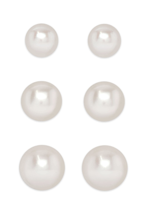 Lily Nily Lily Nily Graduated Freshwater Pearl Stud Set in Sterling Silver