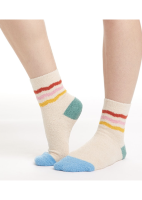 Bando Bando Cozy Grip Socks in Rainbow (Cream)