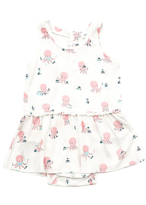 Angel Dear Angel Dear Octopus Playtime Bodysuit with Skirt Pink