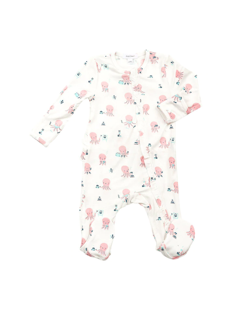 Angel Dear Angel Dear Octopus Playtime Ruffle Front Zipper Footie Pink