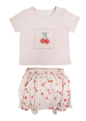 Albetta Albetta Crochet Cherry Tee & Shorts Set