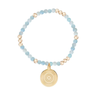 ENewton Worthy Pattern 4mm Bead Bracelet - Athena Small Gold Charm Aquamarine